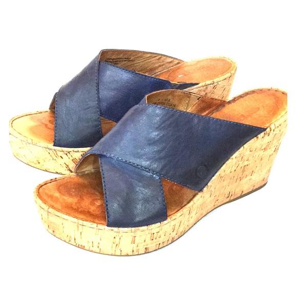 cd0e47fc3e52 Born Shoes - BORN Navy Blue wedge sandal